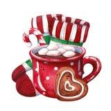 Mug of hot chocolate, socks and christmas sweets