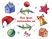 Hand drawn watercolor illustration set of New Year and Christmas decorations. Toys and fir branches. Isolated on white background vector illustration