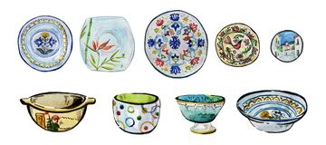 Hand drawn watercolor illustration set of ornamented ceramic plates, bowls and dishes. On white background Royalty Free Stock Images