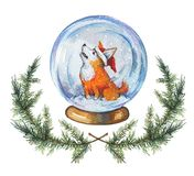 Hand drawn watercolor illustration of snow globe with a corgi dog in Santa`s hat stock illustration