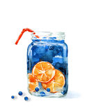 Hand drawn watercolor illustration of summer fresh cocktail. With orange and blueberry. Isolated on the white background Stock Photo