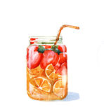 Hand drawn watercolor illustration of summer fresh cocktail. With orange and blueberry. Isolated on the white background Royalty Free Stock Photo