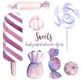 Hand drawn watercolor illustration sweets candies lollipop ice c. Ream popsicle bonbons chocolate striped pastel colors hand painted Royalty Free Stock Image