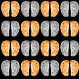 Tangerine slices pattern. Health check, lungs and brain. Seamless watercolor pattern isolated on black background stock photo