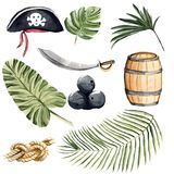 Hand drawn watercolor illustration tropical set of isolated elem Stock Photography