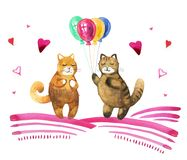 Hand drawn watercolor illustration with two cats and baloons. Hand drawn watercolor illustration for St Valentine`s day with two cats and baloons Royalty Free Stock Images