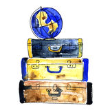 Hand drawn watercolor illustration of Vintage suitcases Stock Images