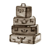 Hand drawn watercolor illustration of Vintage suitcases Royalty Free Stock Image
