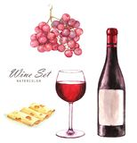 Hand-drawn watercolor illustration of the wine bottle, grape, sliced cheese and one glass of red wine. Drawing isolated on the white background. Wine set royalty free illustration