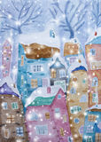 Hand drawn watercolor illustration of a winter scene stock illustration