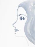 Artistic hand drawn watercolor portrait of woman. Hand drawn watercolor illustration of a woman's profile portrait stock illustration