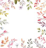 Hand drawn watercolor illustrations. Autumn Botanical border. Se. T of fall leaves and branches. Floral frame. Perfect for invitations, greeting cards, blogs stock illustration