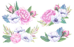 Hand drawn watercolor illustrations. Bouquets with spring leaves. Anemones and peonies. Save the date. Perfect for wedding invitations, greeting cards, blogs Stock Images
