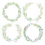 Hand drawn watercolor illustrations. Laurel Wreaths. Floral design elements. Perfect for wedding invitations, greeting