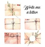 Hand drawn watercolor illustrations. Set of envelopes with flora vector illustration