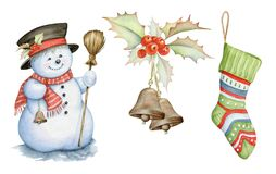 Snowman, Holly berries and Christmas sock watercolor illustrations on white background. Hand drawn watercolor images isolated on white royalty free illustration