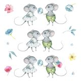 Watercolor Cute Little Mice Set. Hand drawn watercolor images of little mice, flowers, branches isolated on white background. Great for greeting cards for stock illustration