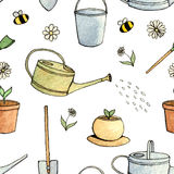 Hand drawn watercolor and ink set of garden tools pattern on the white background. stock illustration