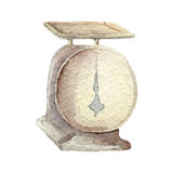 Hand drawn watercolor kitchen scale on white backgroiund. cooking tools series Stock Image