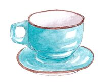 Hand drawn watercolor kitchen utensils. Blue cup