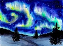 Hand drawn watercolor landscape with northern light. Mysterious glow in the sky at night. stock photo