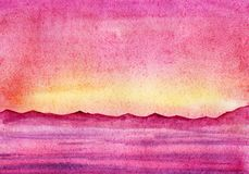 Hand drawn watercolor Landscape. Pink sunset sky and see.  Dark silhouette of further mountains.
