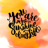 Hand drawn watercolor lettering poster-Sun with You are the suns Stock Photography