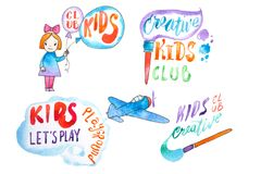 Hand-drawn watercolor logo set for kids club. Collection of promotional symbols for playground and entertaining center Royalty Free Stock Photography