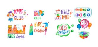 Hand-drawn watercolor logo set for kids club. Collection of promotional symbols for playground and entertaining center. For children Stock Photo