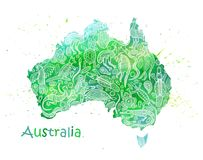 Hand drawn watercolor map of Australia with drawings by Australian aborigines. Abstract stylization. Hand drawn watercolor map of Australia. With the ornament of Royalty Free Stock Photos