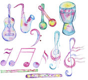 Hand-drawn Watercolor music instruments Royalty Free Stock Photography