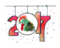 Hand drawn watercolor New Year poster. Hand drawn New Year poster. 2017 is the year of Red Fire Chicken on Chinese zodiac. Watercolor illustration Stock Photos