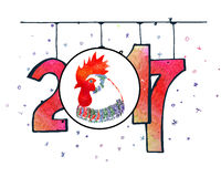 Hand drawn watercolor New Year poster. Hand drawn New Year poster. 2017 is the year of Red Fire Chicken on Chinese zodiac. Watercolor illustration Stock Photo