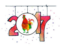 Hand drawn watercolor New Year poster. Hand drawn New Year poster. 2017 is the year of Red Fire Chicken on Chinese zodiac. Watercolor illustration Royalty Free Stock Photos