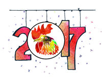 Hand drawn watercolor New Year poster. Hand drawn New Year poster. 2017 is the year of Red Fire Chicken on Chinese zodiac. Watercolor illustration Stock Image