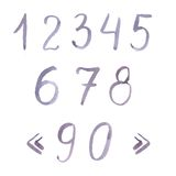Hand drawn watercolor numerals pastel violet color Royalty Free Stock Photos