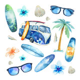 Hand Drawn Watercolor Ocean Surfing Set. Beach Holiday Tropical Royalty Free Stock Photography