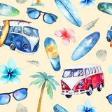 Hand drawn watercolor ocean surfing set. Beach holiday tropical. Travel adventure. Island with palm, retro car,  wagon, bus, surfboard, sunglasse, shell and Royalty Free Stock Image