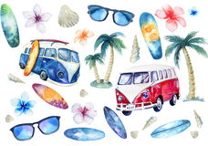 Hand drawn watercolor ocean surfing set. Beach holiday tropical. Travel adventure. Island with palm, retro car, wagon, bus, surfboard, sunglasse, shell and royalty free illustration