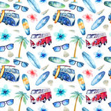Hand drawn watercolor ocean surfing set. Beach holiday tropical. Travel adventure. Island with palm, retro car,  wagon, bus, surfboard, sunglasse, shell and Stock Photo