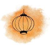 Hand drawn watercolor orange shining chinese lantern. On the white background Stock Image