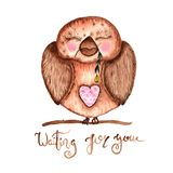 Hand drawn Watercolor OWLt with Flower. Background for cards and prints and Baby Shower stock illustration