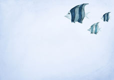 Hand drawn watercolor painting of fishes on blue background.  Stock Photo
