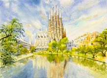 Barcelona at Spain, watercolor painting. vector illustration