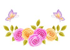 Hand drawn watercolor painting with pink and yellow roses flowers bouquet and two butterflies isolated on white background. Floral