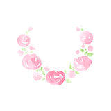 Hand drawn watercolor painting of rose wreath Stock Photography