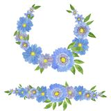 Hand drawn watercolor painting. Set of colorful blue flowers in a frame and border isolated on white. Clipart for design