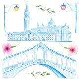 Hand drawn watercolor painting of venetian Rialto bridge and Saint Mark square Royalty Free Stock Photography