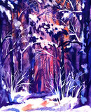 Hand Drawn Watercolor Painting of Winter Forest Landscape. Royalty Free Stock Image