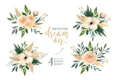 Hand drawn watercolor paintings greenery leaves and flower bouquets. Boho style green and gold. illustration isolated on. White. design for invitation, wedding Stock Photography